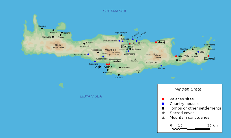 Articles page 62 popular archeology map of minoan crete showing the site of gournia on the northeast coast bibi saint pol wikimedia commons fandeluxe Gallery