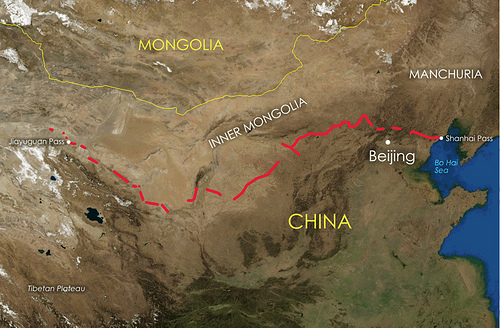 Map of the Great Wall of China, Wikimedia Commons
